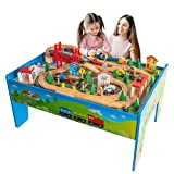 FUNPENY Wooden City Train Set and Table, Colorful City Themed Basswood Rail Toy Set for Kids with Maglev Train Helicopter Suspension Bridge and More, Toys Triple-Loop Fits Thomas Brio Chuggington