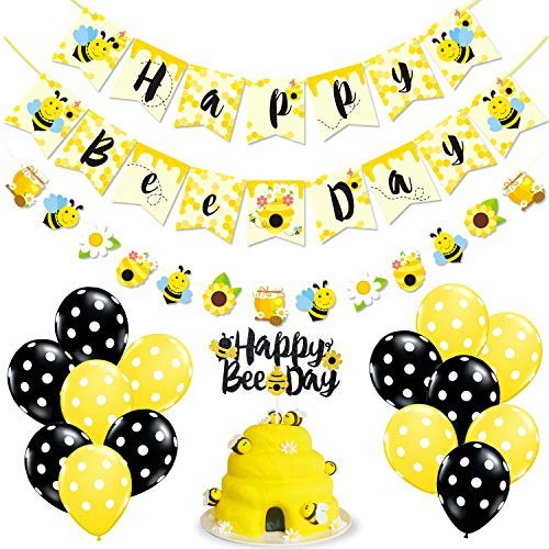 Bumble Bee Party Supplies Happy Bee Day Banner Cake Topper and Bee Balloons for Bumble Bee Themed Gender Reveal Party Supplies Baby Birthday Party Decorations