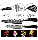 Zeuß Set Küchenmesser (32 cm und 24 cm) Damastmesser - Profimesser - Santoku - Kochmesser - Chefmesser - Allzweckmesser - 67 Schichten Japanischem Damaststahl - 5