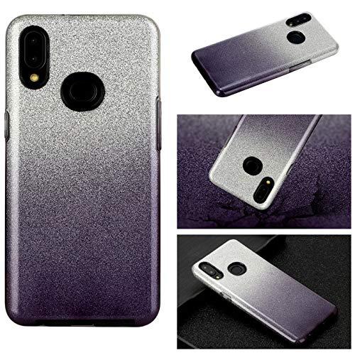 Hancda - Carcasa para Samsung Galaxy A10S [no para A10], funda de teléfono móvil 3 en 1 de silicona con purpurina brillante papel interior duro PC carcasa fina para Galaxy A10S, color negro
