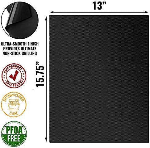 OZ6YA BBQ Grill MatNon-Stick Haute température Téflon Tapis de Cuisson Mince Noir 2 piècesNon Stick Cuisson Maille pour Intérieur Gaz ou Électrique Grill Thin black 5 pieces
