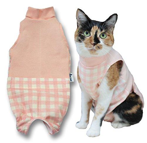 ペットケアアドバイザー考案 お家での介護がしやすい猫用術後服 ピンクチェック・S