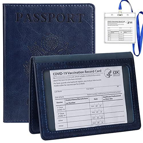 TIGARI Passport and Vaccine Card Holder, Passport Wallets Passport Covers Ultra Slim Passport Holder for Women Men, Leather Passport Case Protector with Waterproof Vaccine Card Slot