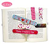 Supoice 42 Pcs Valentine's Day Magnetic Bookmark 6 Cute Designs Perfect for Valentine's Day Gift & Classroom Rewards Incentives for Kids Valentine Favors