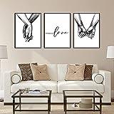 Poster Set, 3 Stück Modern Schwarz Weiß Love Bilder