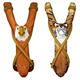 NatureLaunchers Nature LAUNCHERS - Hand-Carved Wooden Slingshot - 2 Pack - Eagle and Tiger