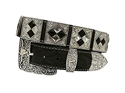 Western Flashy Bling Bling Belts Cowboy Cowgirl Gray Silver Crystal Stone Square