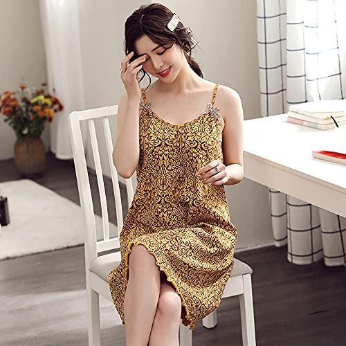Lounge Wear Womens Set, Summer female sling cotton pajamas sleeping skirt,-turmeric_M, Women's Pajama Sets Summer