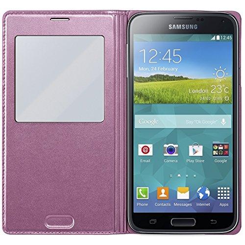 Samsung EF-CG900BP Etui-Schutzhülle mit Display-Flappe und transparenter Zone Galaxy S5 pink
