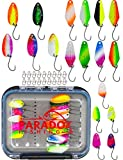 Paradox Fishing Forellen Spoon Box Set 18 Spoons mit Box und Snaps 1,5g/2,5g/3,5g Forellenköder Forellen Spoons - Spoons Forelle (Spoon Box + 8 Spoons 2,5g + 5 Spoons 1,5g + 5 Spoons 3,5g)
