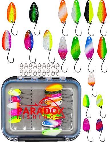 Paradox Fishing - Set di 18 spoon con scatola e snaps spoon trout area 1,5 g/2,5 g/3,5 g, spoons per trote (Spoon Box + 8 spoon 2,5g + 5 spoon 1,5g + 5 spoon 3,5g) trout area