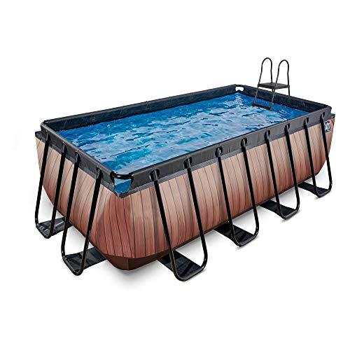 EXIT Piscina de madera de 400 x 200 x 122 cm, con bomba de filtro de arena, color marrón
