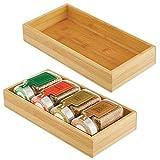 mDesign Juego de 2 cajas de bambú – Cajón de almacenaje multiusos para armarios, cajones y superficies – Organizador de madera abierto de bambú ecológico – natural