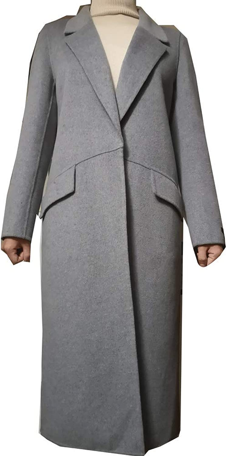 CG Women Plus Size WoolBlend Classic Coat Maxi Long Coat Female Robe Outerwear(Regular & Plus) G8153
