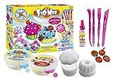 CRAZE 15063 FLO MEE + CLOUD SLIME Cupcake & Bakery Set Lufttrocknende Flauschige Kinderknete Wolkenschleim, Bunte knete