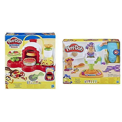Hasbro Play-Doh Play-Doh-La Pizzeria (Playset con 5 Vasetti di Pasta da Modellare), Multicolore, E4576Eu4 & Play-Doh Fantastico Barbiere Playset con 5 Vasetti di Pasta da Modellare, Multicolore