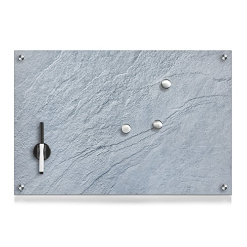 Zeller 11669 Memobord Schiefer, Glas, grau, ca. 60 x 40 cm