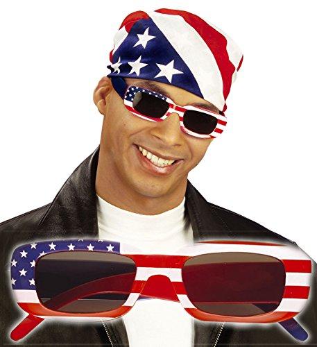 Unbekannt * USA Sonnenbrille * als Verkleidung für Halloween, Karneval oder Amerika Mottoparty // Male // Geburtstag Kindergeburtstag Stars Stripes Fan Brille rot Weiss blau Sterne
