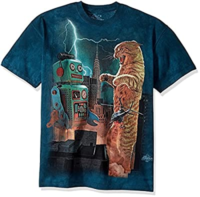 The Mountain Catzill Vs. Robot Adult T-Shirt, Green, Small