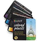 Colore Colored Pencils - 72 Premium Pre-Sharpened Color Pencil Set for Drawing...