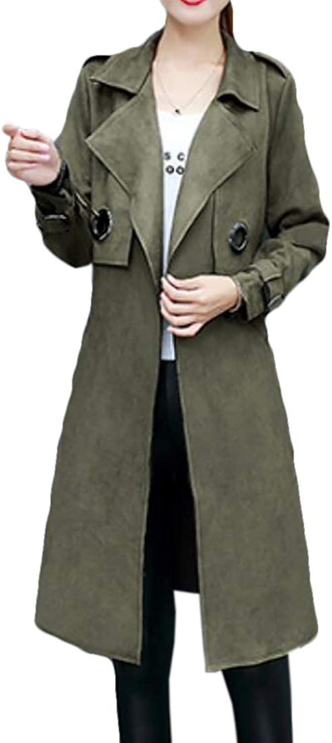 UUYUK Women Elegant Faux Suede Mid Length Trench Coat with Belt