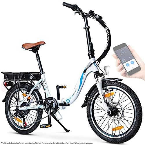 BLUEWHEEL 20' klappbares E-Bike I Deutsche Qualitätsmarke I Shimano 7 Gang-Schaltung I EU-konform Klapprad mit App + 250 W Motor + Batterie abnehmbar   Electric Bike 25 km/h bis zu 150 km   BXB55