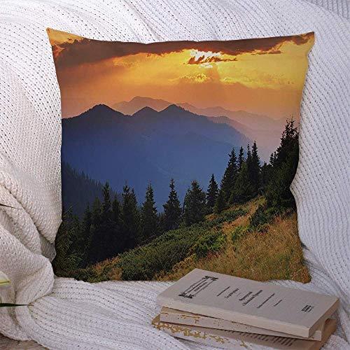 N\A Couvre-oreillers décoratifs pour canapé-lit canapé-lit coloré Paysage d'automne Montagnes sous Le Ciel du Matin Nuages Nature Alpes Parcs Belle Couleur Aube Douce Housse de Coussin