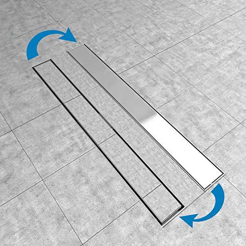 Edelstahl Duschrinne Bodenablauf Abflussrinne Duschablauf Boden Ablauf Rinne Siphon mit Geruchsstop Bodenbefestigung Maße von 50 bis 100cm wählar