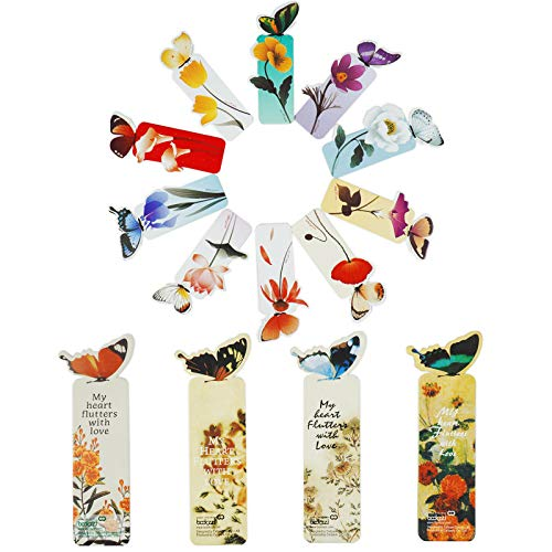 XIELIUWEE 3D Cute Butterfly Bookmarks for Women Men Boys Girl Teens Students Kids Book Lovers Birthday Book Marks for Book Club Creative Gift Card Book Marker,14Pcs