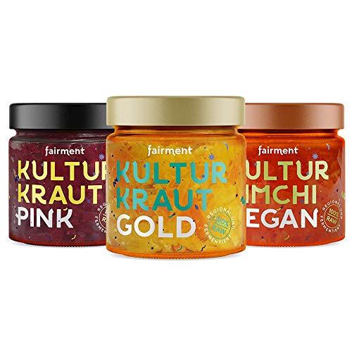 Fairment Bio Kultur-Kraut Probiermix (3 x 330g), Kultur Kimchi vegan, Kultur Kraut Gold, Kultur Kraut Pink