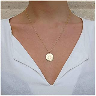 Olbye Gold Hammered Coin Necklace Gold Disc Pendant Necklaces for Women and Girls Minimalist Necklace Choker (1 Layer)