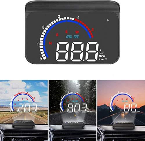 Head up Display Universelles digitales Auto HUD Display OBD2 / GPS-Dual-System, Auto Tachometer MPH, Überdrehzahlwarnung, Kilometerstandmessung, Motordrehzahl, Geschwindigkeitsmesser