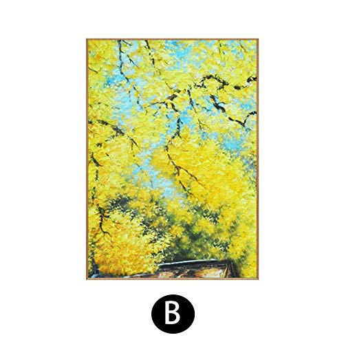 SUMIANYH 100% handgeschilderd olieverfschilderij puur handgeschilderd olieschilderij gouden bloem modern minimalistische woonkamer veranda decoratief schilderij restaurant gang gouden ketting bloem schilderij 50×70cm