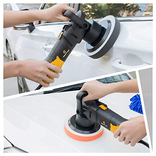 Polisher, 6 Inch Dual Action Car Polisher with Variable Speed, Detachable Handles, 3 Foam Pads for Car Sanding, Polishing, Waxing, Sealing Glaze, C P CHANTPOWER