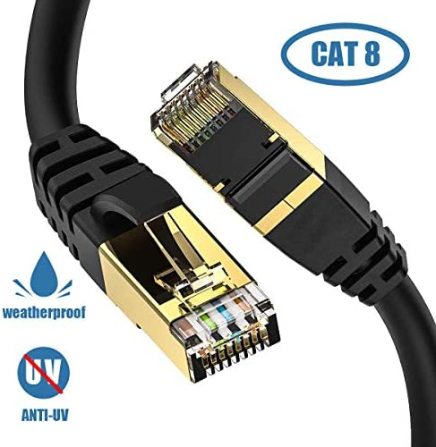 Cat8 Ethernet Cable Outdoor Indoor 3FT Heavy Duty Direct Burial High Speed 26AWG Cat8 LAN Network product image