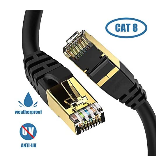 Cat8-Ethernet-Cable-OutdoorIndoor-50FT-High-Speed-26AWG-Cat8-LAN-Network-Cable-40Gbps-2000Mhz-with-Gold-Plated-RJ45-Connector-Heavy-Duty-Weatherproof-SFTP-UV-Resistant-for-RouterGamingIP-Cam