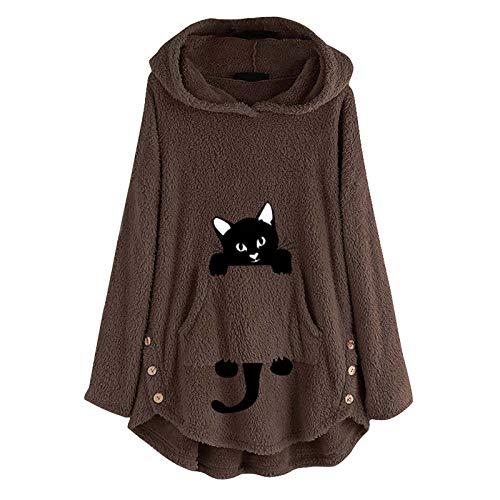 HFStorry Womens Cat Embroidery Print Plus Size Warm Peluche Felpa con Cappuccio Top Pullover Felpa Camicetta Carino Caldo Inverno Outwear