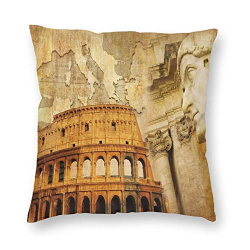 Decorative Cushion Covers with Roman Empire Concept Famous Columns Sculptress Colosseum Map of The Nation Print,for Sofa Office Decor Cotton and Linen Cushion Covers 20*20Inch