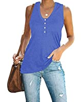 Inorin Womens V Neck Button Up Tank Top Sleeveless Casual Summer T Shirts Blouses