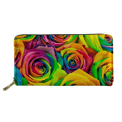 Coloranimal Lange Geldbörse für Damen und Herren, Reißverschluss, PU-Leder, Clutch, Handtasche, Kreditkartenetui -  mehrfarbig -