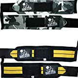Nordic Lifting Wrist Wraps (2 Pairs/4 Wraps) 14' for Weightlifting | Cross Training | Powerlifting -for Women & Men- Hand Strength & Support During Weight Lifting Grey & Yellow, 1 Year Warranty