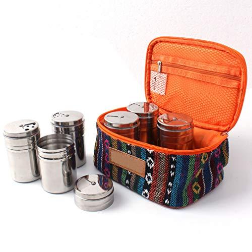 KBstore 6pcs in acciaio INOX contenitore per le spezie condimento portaspezie con coperchio girevole–Outdoor portatile campeggio viaggio, con borsa per trasporto sacchetto # 2