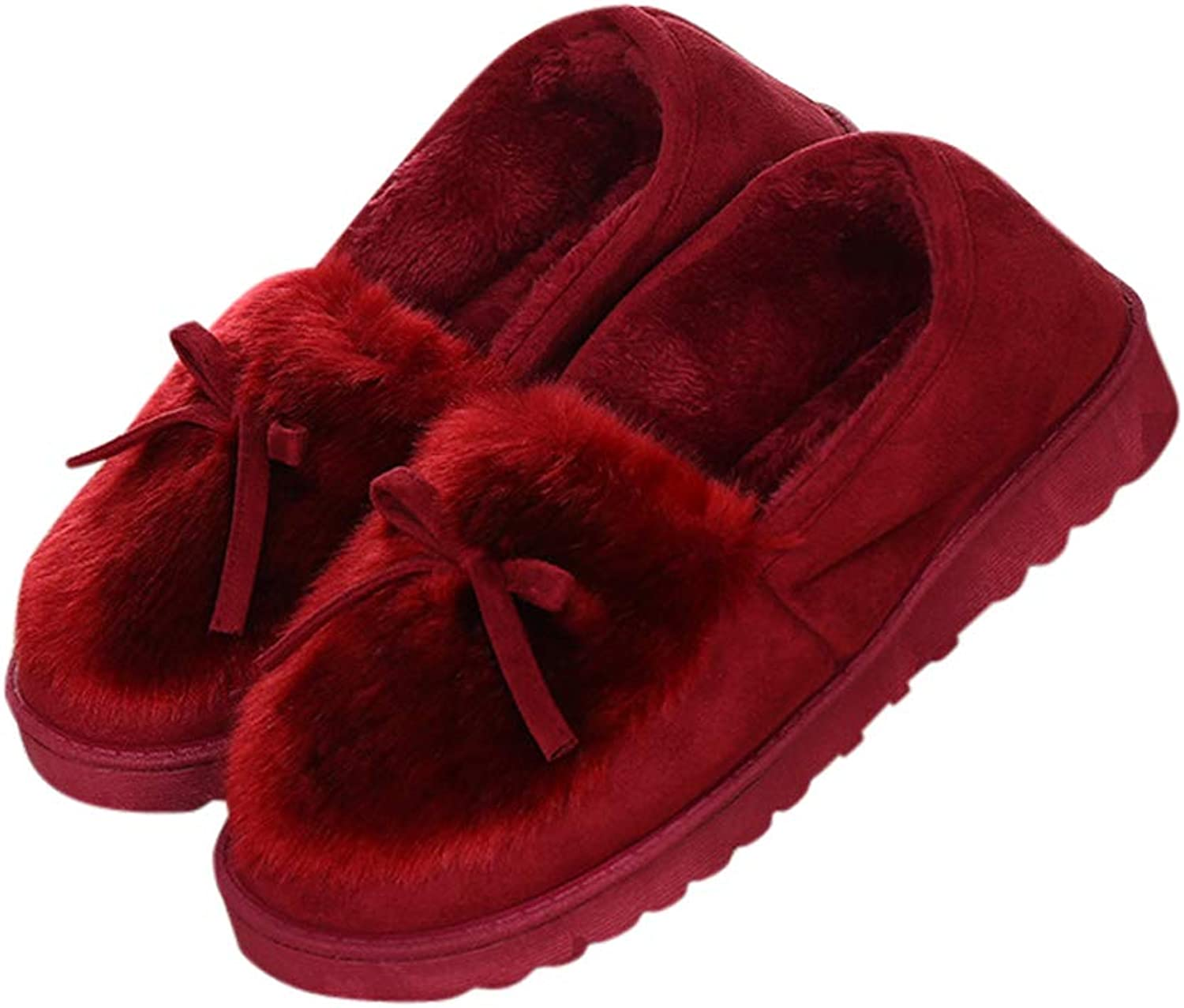 Baviue Womens Bowknot Fuzzy Cozy Casual Outdoor Indoor Moccasin Slippers