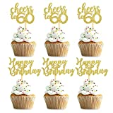 Unimall Pack of 24 Gold Glitter Happy Birthday Cupcake Topper Cheers to 60 Cupcake Food Picks for Celebrating 60th Birthday Sixty Years Old Party Decorations Supply