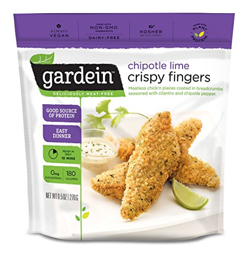 Gardein Chipotle Lime Crispy Chick'n Fingers, Meatless Protein Packed Strips, 9.5 Ounce (Frozen)