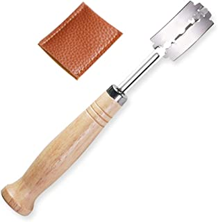 Cuchillo Baguette con hoja de afeitar de 5 piezas, cuchillo de panadero, cuchillo de masa, cuchillo de pan de Baguette Brot Brötch con funda de cuero