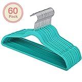 HOUSE DAY Hangers Velvet Mint Green 60 Pack Felt Hangers Ultra Thin Space Saving 360 Degree Swivel Hook Clothes Hangers Velvet for Coats,Jackets,Pants,Dress