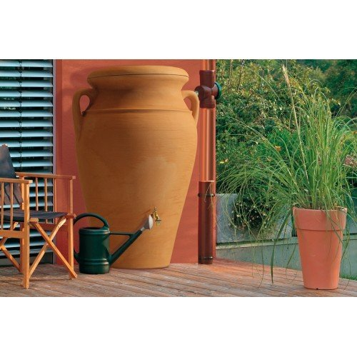 Technik Helena 300L Terracotta Style Water Butt Tank - Outdoor Garden Irrigation - Rainwater Harvesting