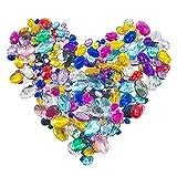 Allazone 300 Pz Oval Plano Artesanías de Diamantes de Imitación, 5 Talla Pedrería de Colores Artesanías De Gemas De Cristal Piedras Preciosas de Vidrio para Tarjetas e Invitaciones, Joyas
