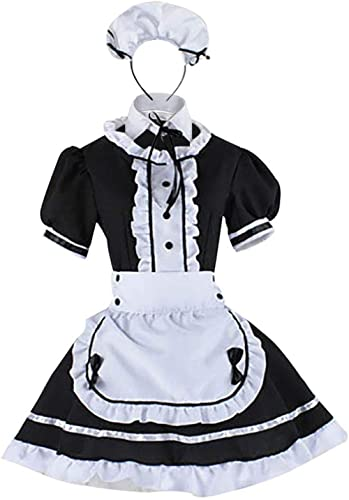 Wraith of East Adult Maid Costume Cute Girl Lolita Cosplay Outfit Halloween Costumes Women Fancy Dress Apron with Hea...